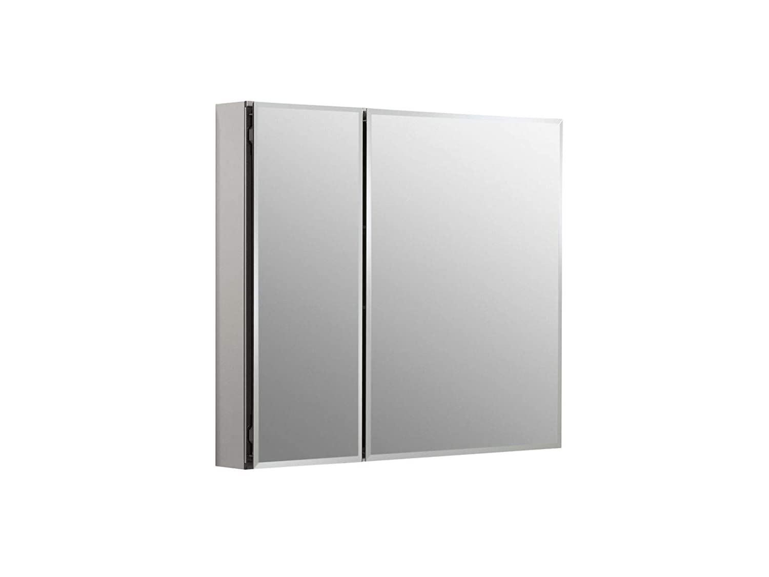 KOHLER K-CB-CLC3026FS Frameless Double Door 30 inch x 26 inch Aluminum Bathroom Medicine Cabinet Recess or Surface Mount