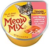 Meow Mix Tender Favorites with Real Salmon and Crab Meat in Sauce 2.75-Ounce Cups (Pack of 24), My Pet Supplies