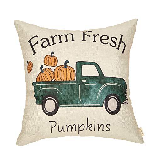 Fahrendom Fall Farmhouse Rustic Home Décor Thanksgiving Autumn Harvest Decorative Throw Pillow Cover Vintage Truck Sign Farm Fresh Pumpkin Decoration Cotton Linen Cushion Case, Sofa Couch 18 x 18 in