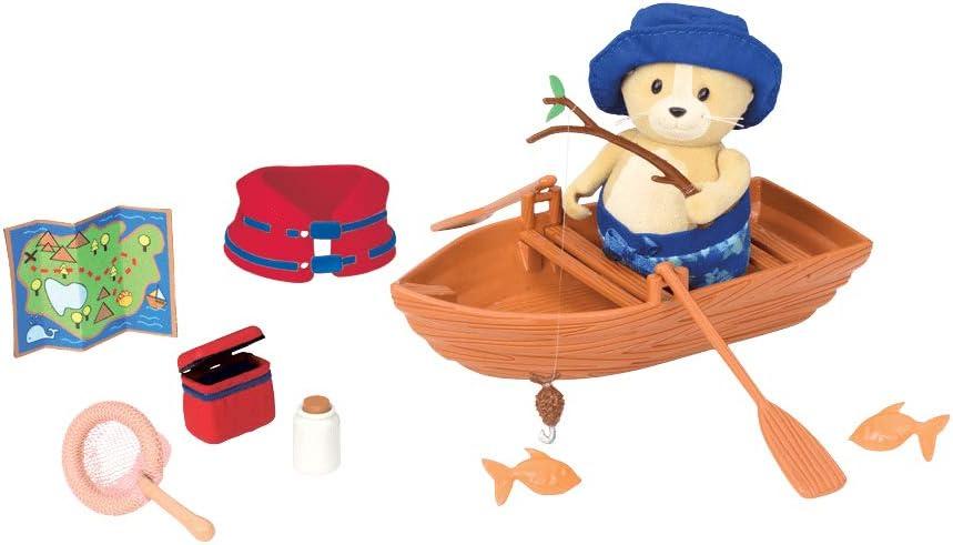 Li'l Woodzeez Animal Figurine Playset and Accessories - Boating Playset - 14 Pieces