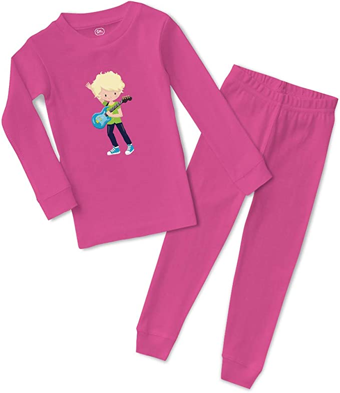 Guitar Player Girl Blonde Cotton Boys-Girls Sleepwear Pajama 2 Pcs Set