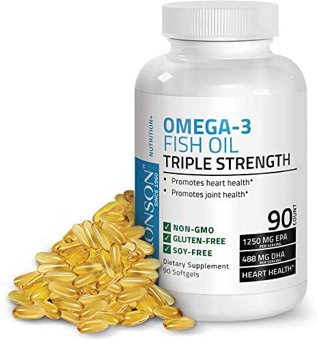 Omega 3 Fish Oil Triple Strength 2720 mg - High EPA 1250 mg DHA 488 mg - Heavy Metal Tested - Non GMO Gluten Free Soy Free - 90 Softgels