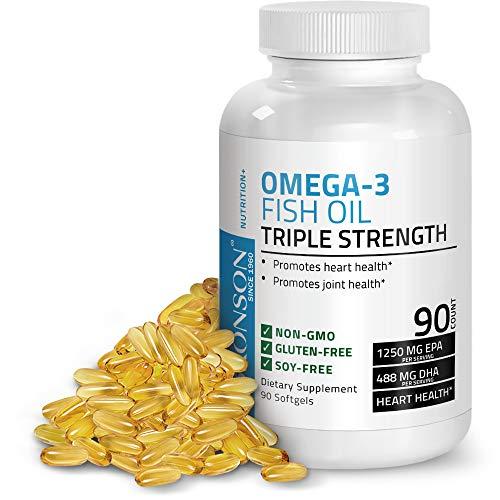 Gluten Free Oils - Omega 3 Fish Oil Triple Strength 2720 mg - High EPA 1250 mg DHA 488 mg - Heavy Metal Tested - Non GMO Gluten Free Soy Free - 90 Softgels