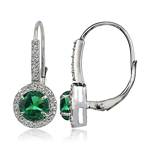 Sterling Silver Created Emerald and White Topaz Round Leverback Earrings
