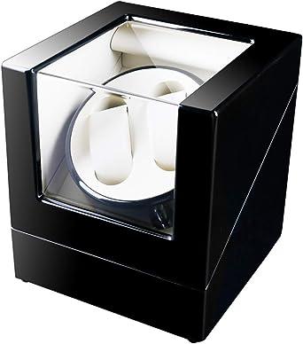 Watch Winder 2+0, Caja giratoria para 2 Relojes automáticos 2 Movimiento, Cargador para Relojes automáticos, en Madera con Acabado Piano (Blanco): Amazon.es: Relojes