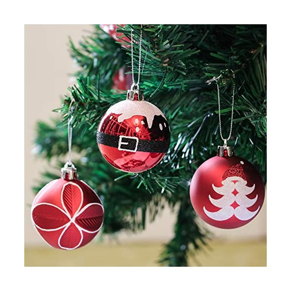 Valery Madelyn Palle di Natale 9 Pezzi 6cm Addobbi Natalizi, Traditional Red And White Shatterproof Christmas Ball Ornaments Decoration for Christmas Tree Decor 7 spesavip