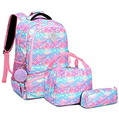Glitter Mermaid Girls Backpack - 3 Pcs Colorful Scale School Bags Set for Preschool Kindergarten Elementary Student Kids Blue | Kids' Backpacks
