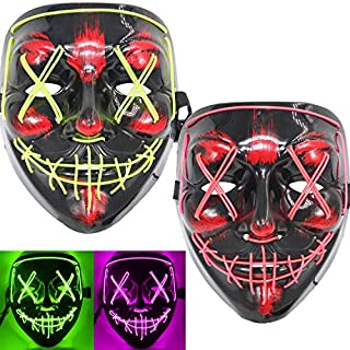 ThEast Halloween Face Mask LED Light Up Purge Masks for Festival Novelty and Creepy Cosplay Costume (Fluorescent Green + Pink)