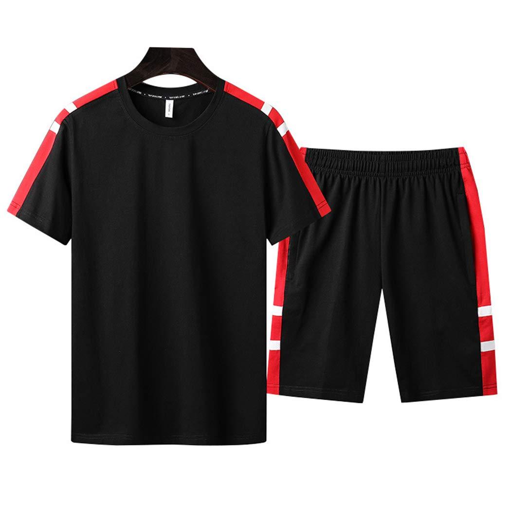 xzbailisha Men's 2 Piece Outfits Loose Crewneck Short Sleeve T-Shirts & Shorts Tracksuit by xzbailisha