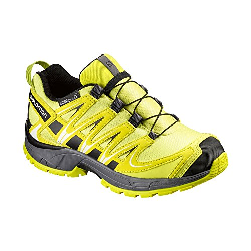 Salomon Unisex Kids' Xa Pro 3D CSWP Trekking-and Walking Shoes, Green/Black Corona Yellow/Alpha Yellow/Dark Cloud