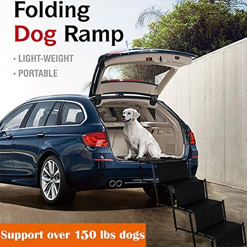 Bearing 100Lbs Car Dog Stairs Portable Pet Ramp Ladder for Cars High Beds Multifunctional Pet Staircase Climbing Ladder 3-Steps Foldable Pet Ramp for Trucks SUVs High Beds