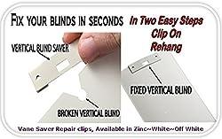 25 Pack VERTICAL BLIND Vane Saver ~ White Curved Repair Clips ~ Fixes Broken Holes
