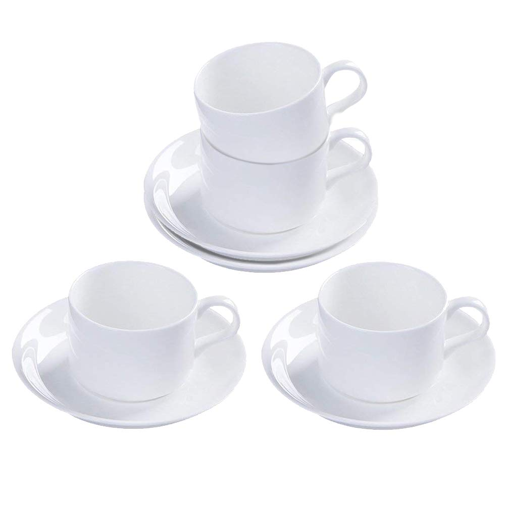5oz Set of 4 Pure White Porcelain Coffee Cups with Saucers Kslong