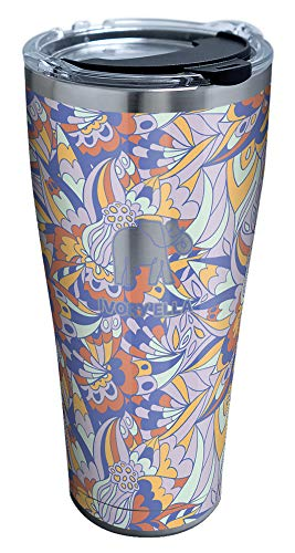 Tervis Ivory Ella - Prairie Florals Stainless Steel Insulated Tumbler with Clear and Black Hammer Lid, 30oz, Silver