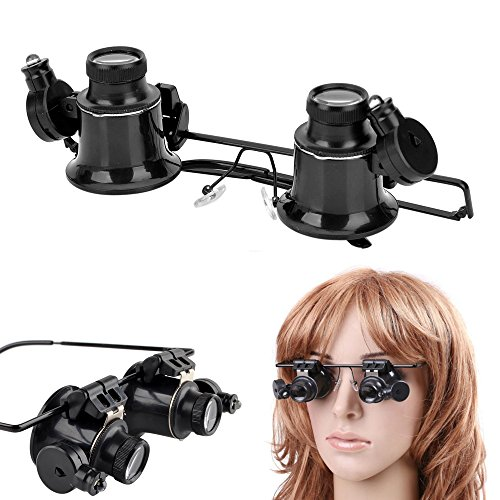 - Happy Hours Hand-free 20x Magnifier Magnifying Eye Glasses Adjustable Loupe Lens Jeweler Watch Repair Precision Tool with LED Light Illumination Kit