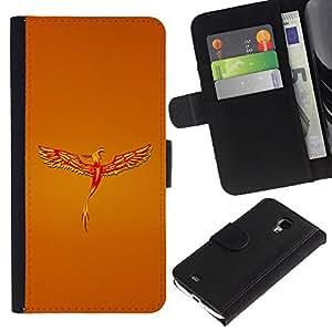 A-type (Golden Phoenix) Colorida Impresión Funda Cuero Monedero Caja Bolsa Cubierta Caja Piel Card Slots Para Samsung Galaxy S4 Mini i9190 (NOT S4)