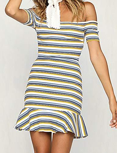 Vestido S Sobre JIZHI Color Un La Básico Mujer A Vaina Rayas White Rodilla C7CwqFt