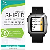 [6-Pack] RinoGear for Pebble Time Screen Protector [Active Protection] Full Coverage Flexible HD Crystal Clear Anti-Bubble Film