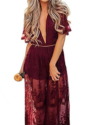 Wicky LS Women's Sexy Short Sleeve Long Dress Low V-Neck Lace Romper (S, Wine Red) by Wicky LS (Image #1)