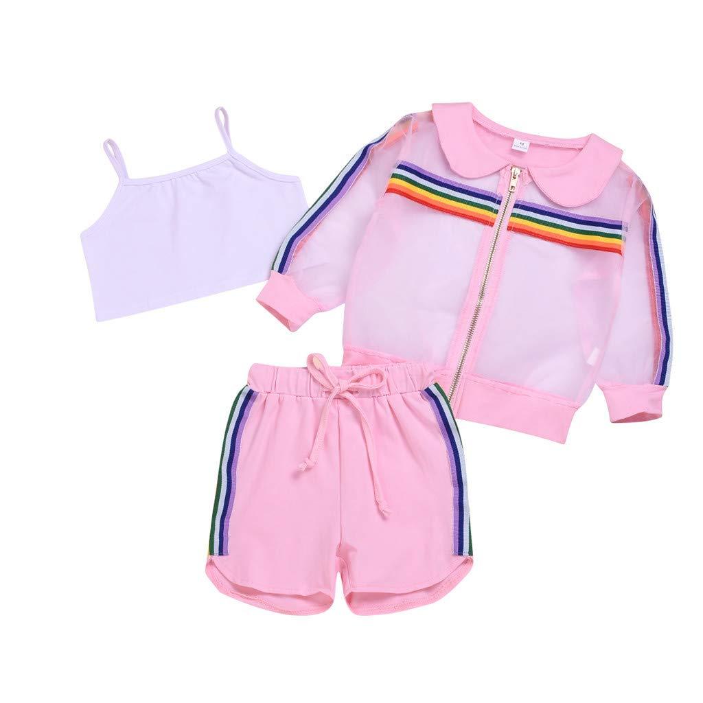 Xshuai Kleinkind Baby M/ädchen SonnenschutzTops Feste Weste OutfitsSet 3Stk Feste Shorts