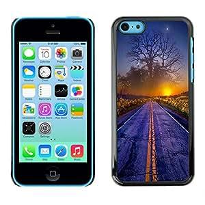 "For Apple iPhone 5C Case , Magical Sunset Mundial Árbol Arte Camino Niebla Amanecer"" - Diseño Patrón Teléfono Caso Cubierta Case Bumper Duro Protección Case Cover Funda"