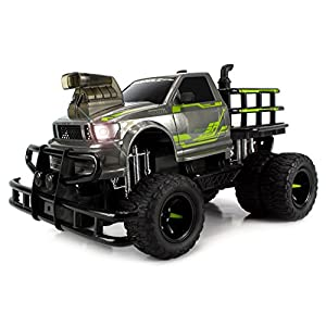 Velocity Toys Jungle Sky Thunder Dually Electric RC Monster Truck Big 1:12 Scale RTR w/ Working Headlights, Dual Rear Wheels (Colors May Vary)