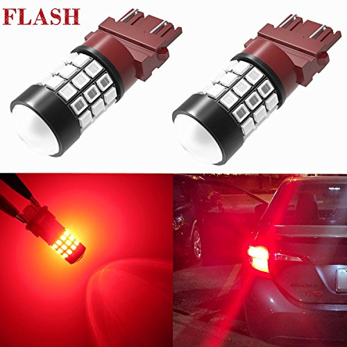 Alla Lighting 3156 3157 LED Strobe Brake Lights Bulbs Super Bright T25 3056 3057 3457 4157 4057 3157 LED Bulbs for Cars Trucks RVs SUVs Flashing Strobe Brake Stop Light, Brilliant Pure Red (Set of 2)