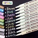 PuTwo Metallic Marker Pens Scrapbook Photo Album Markers 10 Assorted Colors in 1 Set