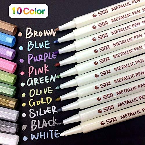 PuTwo Metallic Marker Pens Scrapbook Photo Album Markers 10 Assorted Colors in 1 ()