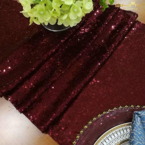 ShinyBeauty Sequin Table Runner Burgundy product image