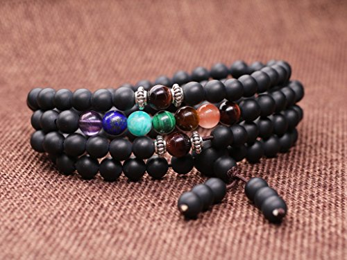 Coai buddhist prayer 108 mala beads matte onyx 7 chakra for Zen culture jewelry reviews