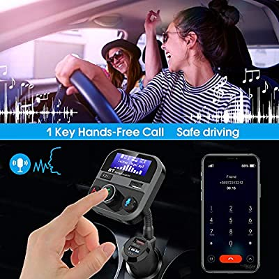 Bluetooth FM Transmitter, Doosl Bluetooth 5.0 Car Radio Transmitter with 3-Port USB Car Charger, Quick Charge 3.0 Chip, 1.7-Inch Screen, Support Siri, Google Assistant and Phone Voice Navigation: MP3 Players & Accessories