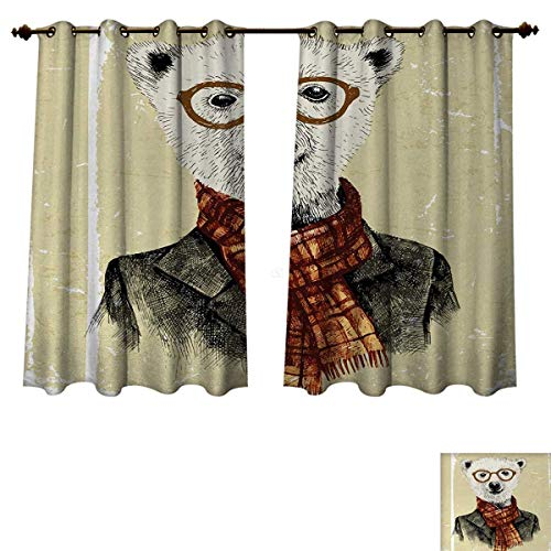 Anzhouqux Animal Blackout Thermal Backed Curtains for Living Room Hipster Bear with Glasses Scarf Jacket Wild Mammal Humorous Artwork Window Curtain Fabric Cream Dark Orange Black W72 x L63 inch