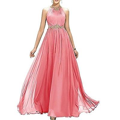 Meilishuo Women's High Neck Beaded Bridesmaid Dress Long Evening Gown Chiffon Prom Dress