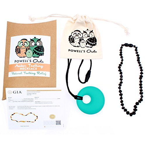 Baltic Amber Teething Necklace Gift Set + FREE Silicone Teething Pendant ($15 Value) Handcrafted, 100% USA Lab-Tested Authentic Amber - Teething Pain Relief (Raw Unpolished Cherry - 12.5 Inches)