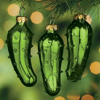(12) One Dozen Hand Blown Glass Pickle Christmas Tree Ornaments for Good Luck Trim-A-Tree Stocking Stuffer or Gift Giving