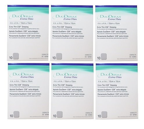 DuoDERM Extra Thin CGF Dressing - 4 x 4'' - 6 box of 10pc ea by ConvaTec