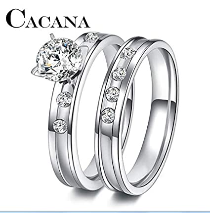 JEWH Stainless Steel Wedding Ring for Lovers - Silver Color Crystal CZ Couple Rings Set Men