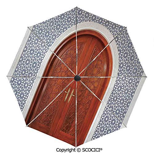 SCOCICI High Grade Portable Sun Umbrella, Antique Wooden Door of Asian Architecture with Star Form Oriental Belief Picture,Compact Travel Umbrella for Women Men, Auto Open Close