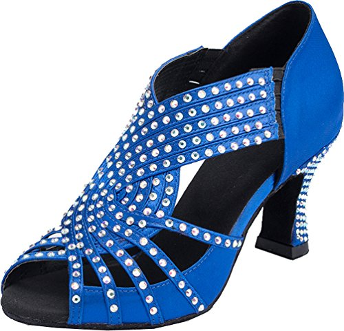 Cfp Dance Femmes Jj 6173 De toe chaussures Bal Salsa Satin Bleu Salle Talon Latin Chaton Peep Mariage Tango ApqAEdZrW