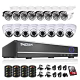 Cheap TMEZON 16Channel DVR CCTV Kits Security Cameras System w/ 8 Outdoor Bullet+ 8 Indoor Dome 800TVL Hi-Resolution Video Surveillance Cameras 2TB Hard Drive