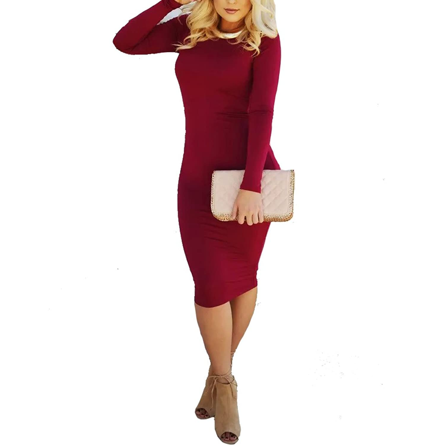 Women's Cut Out Backless Long Sleeve Bodycon Cocktail Tight Midi Dress