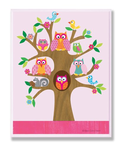 The Kids Room by Stupell Owls, Birds, And Squirrel In A Tree Rectangle Wall Plaque, 11 x 0.5 x 15, Proudly Made in USA by The Kids Room by Stupell