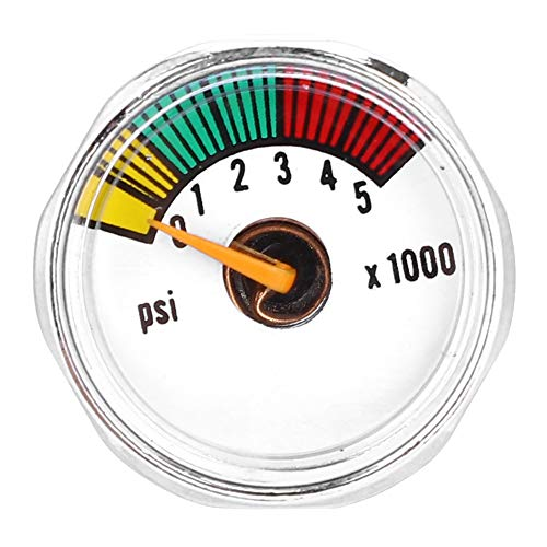 Alloy 3000 Psi &5000 Psi Micro Paintball Air CO2 Tank Pressure Gauge 1/8NPT Threads One Piece All Brass 3000psi Mini Micro Gauge-Sliver (5000psi 1/8NPT)