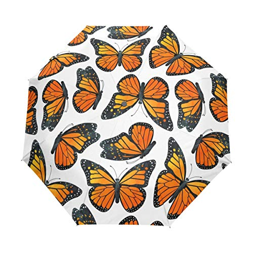 - HLive Travel Umbrella Monarch Butterfly Auto Open Compact Folding Sun & Rain Protection Umbrella with UV Protection Windproof