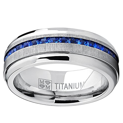Amazon Mens Eternity Titanium Wedding Band Engagement Ring W Blue Simulated Sapphire Cubic Zirconia Princess CZ Jewelry