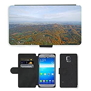 Super Stella Cell Phone Card Slot PU Leather Wallet Case // M00104588 Siebengebirge Aerial View Dragon Rock // Samsung Galaxy S5 S V SV i9600 (Not Fits S5 ACTIVE)