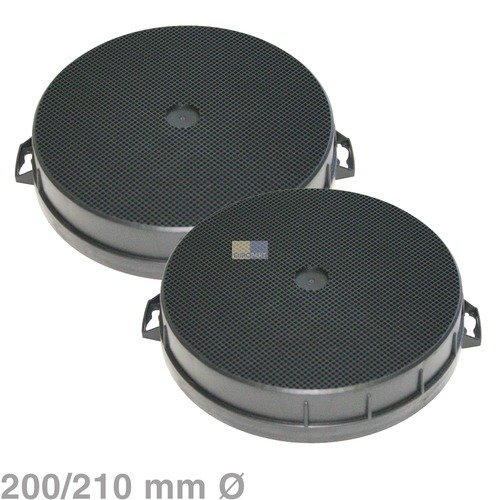 2filtri al carbone attivo, diametro 200x 210mm rotondo per cappe Bosch Siemens Neff n.: 353121 Bosch/Siemens