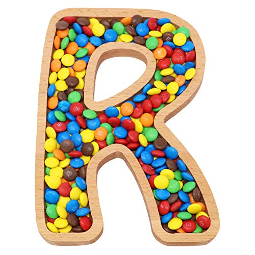 Wooden Candy - Wooden Letter R Candy Dish | Monogram Nut Bowl | Snack, Cookie, Cracker Serving Plate | Decorative Display, Home Accessory | Unique Gift Idea | for Date, Baby Shower, Birthday Party | Large Size