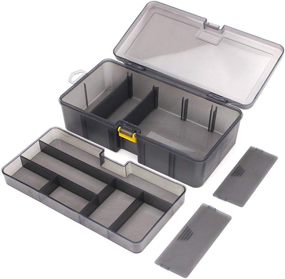 zuoshini Angelkoffer Angelger/ät Box Angelk/öder Haken Werkzeuge Box Zweilagige Multifunktionale Durchscheinende Graue Kunststoff Professionelle Angelger/äte Lagerung Organizer Box